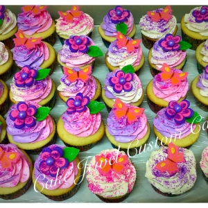 Pink and Purple Butterflies and Flowers cupcakes