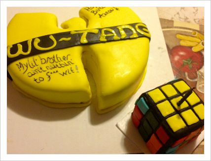 Yellow and Black Wutang Clan themed Cake with 1980s Rubiks Cube Cake