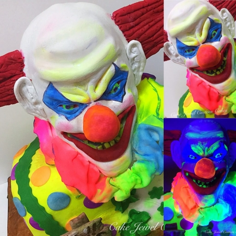 Scary, Glow-in-the-dark Clown Cake