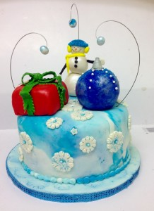 Holiday Themes Cake with Rice Crispy Toppers