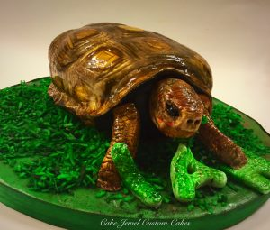 Sculpted 3D Turtle Cake