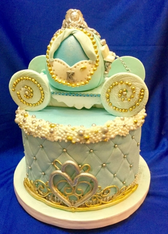 Blue Princess Carriage and Tiara Cake