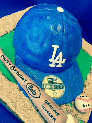 LA Dodgers Baseball Cap Cake and bat