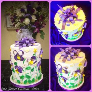 Flowers and Bows Double Barrel Cake