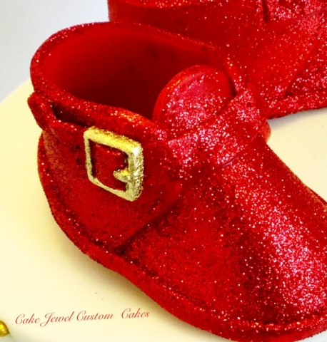 Fondant Ruby Red Glitter Baby Shoes