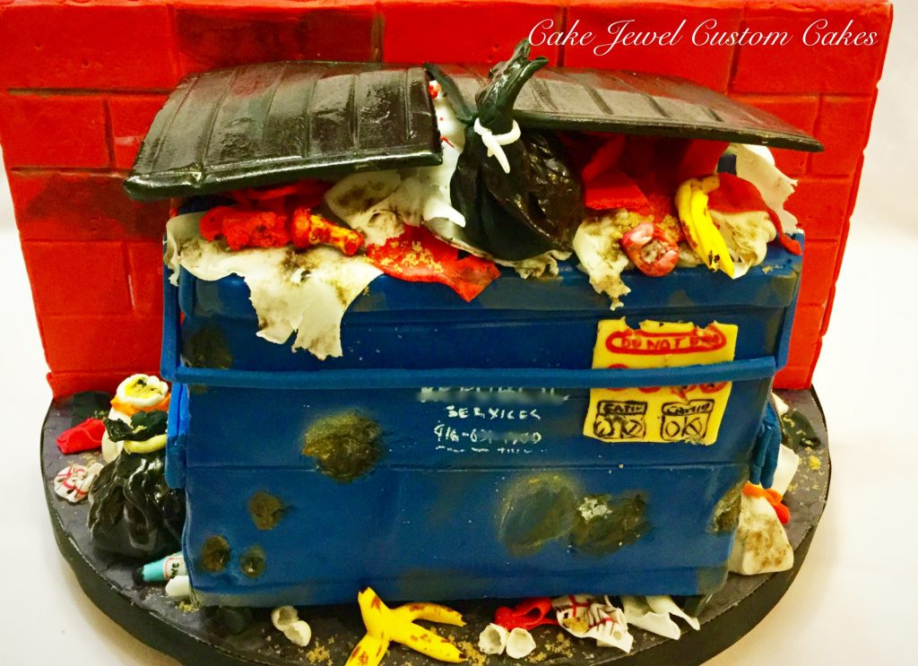 Dumpster Cake with edible trash
