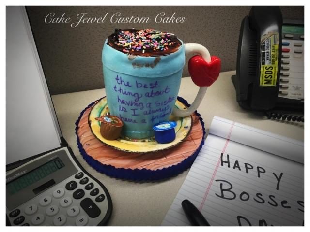 Coffee Mug cake with fondant edible creamers