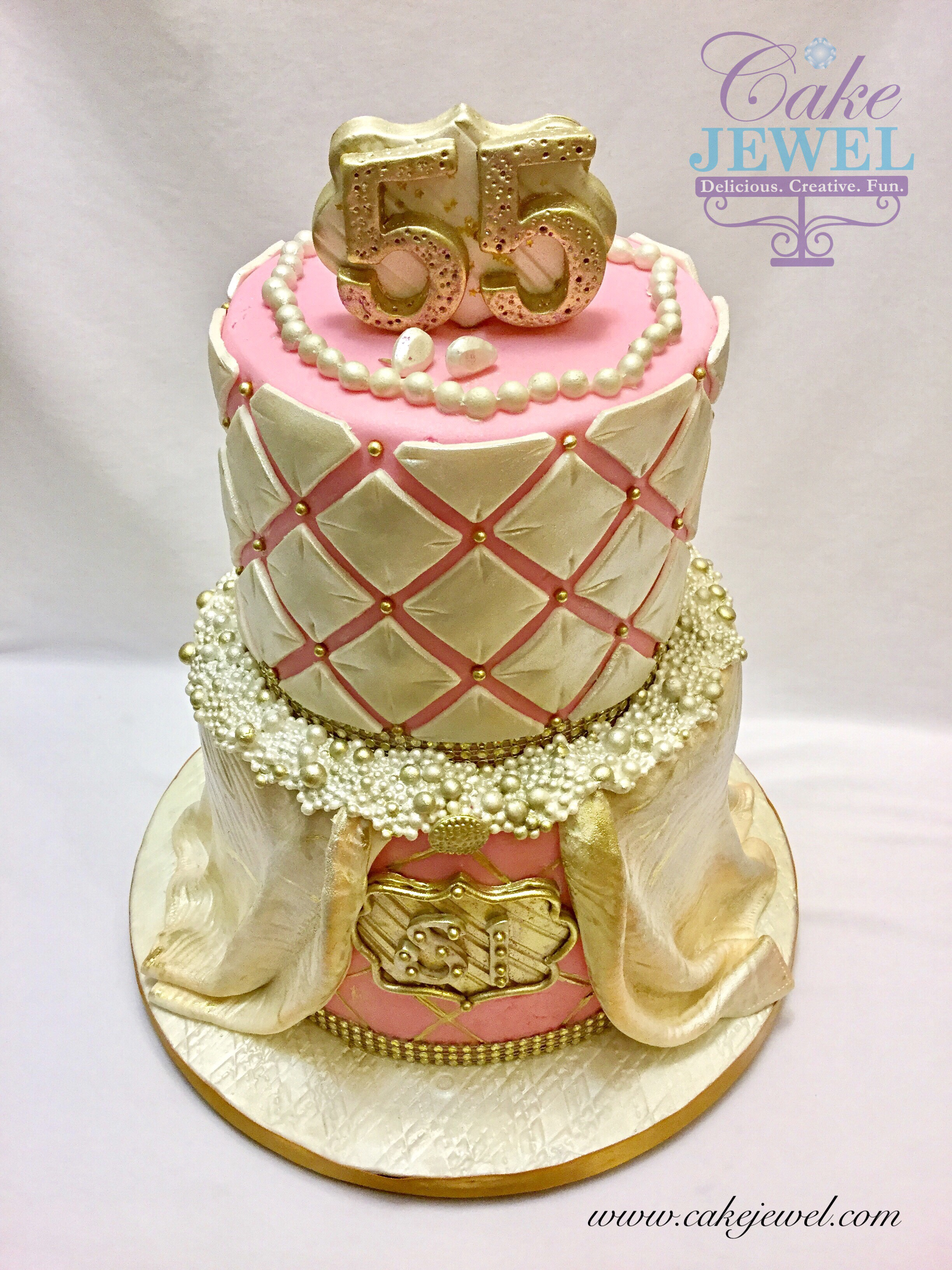 Fit for a Queen Pink and Pearls Cake