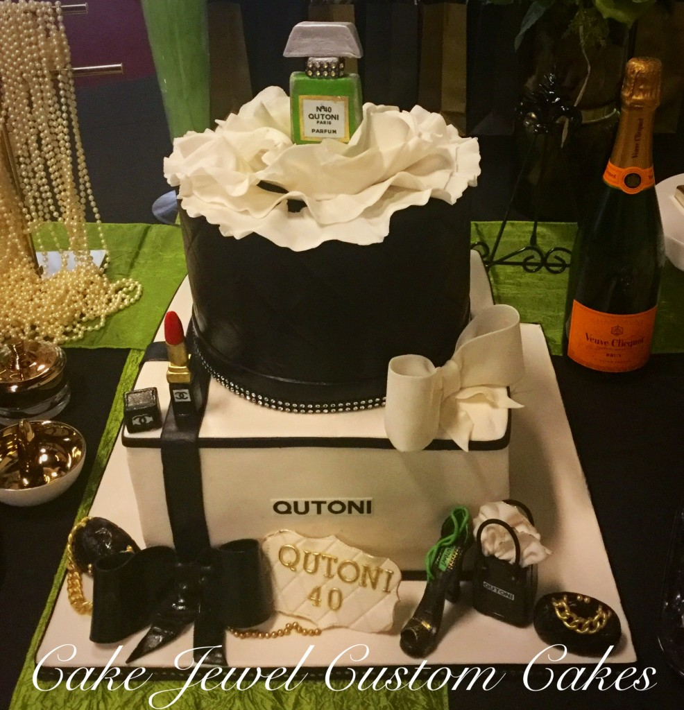 Chanel Inspired Cake with edible fondant accessories