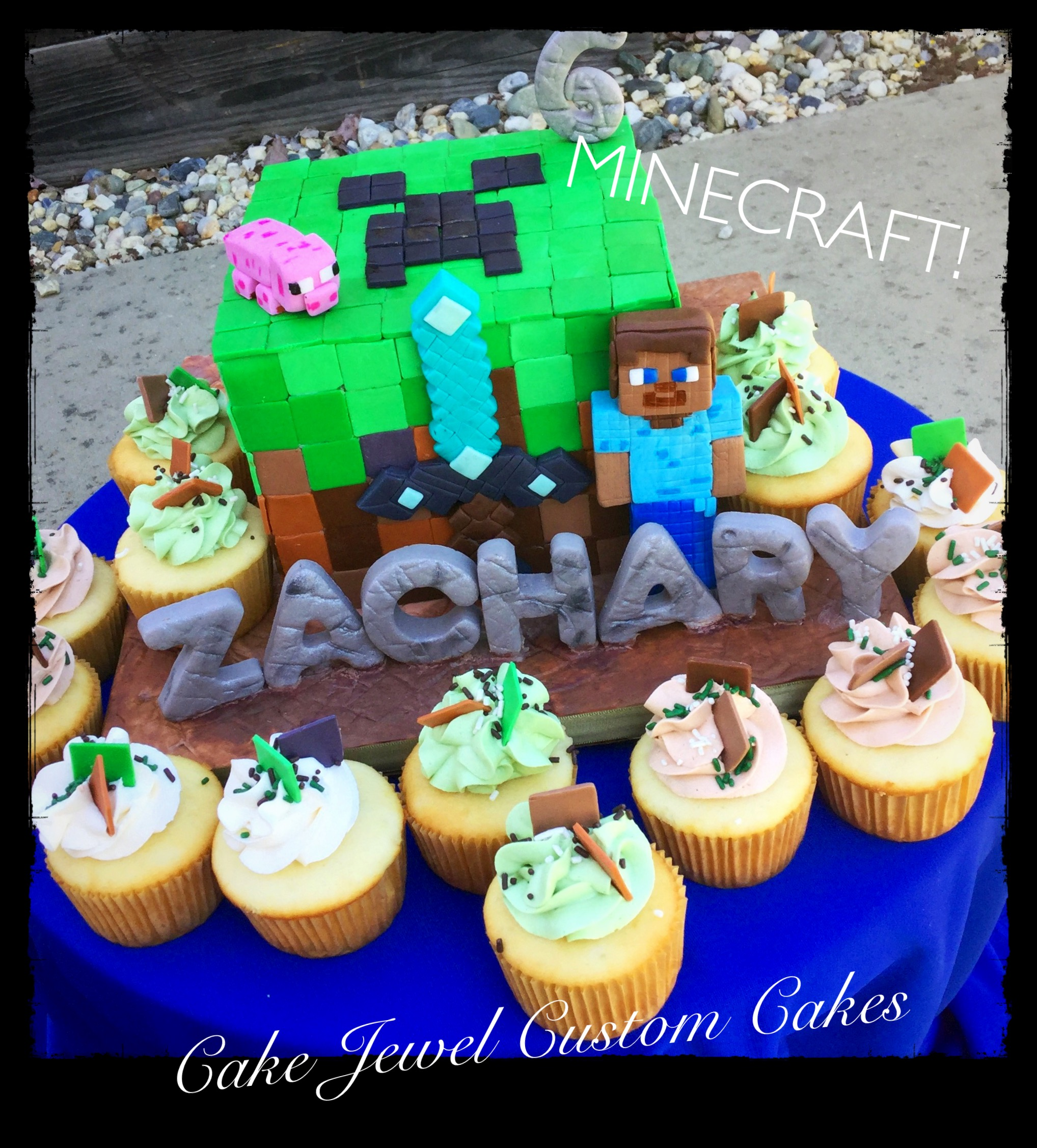 Minecraft cake with matching cupcakes