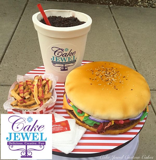 Gigantic burger fries and soft drink cake