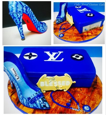 Royal blue handpainted fondant high heel and shoe box cake