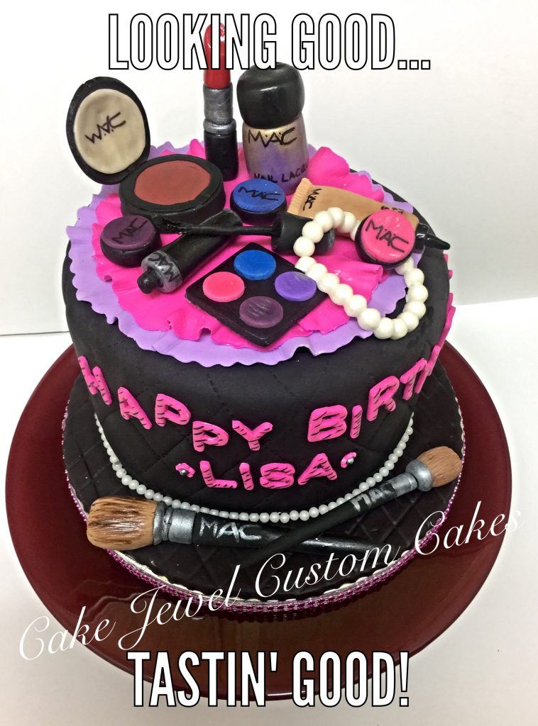 Hot Pink and Black Make-up Cake with Fondant toppers