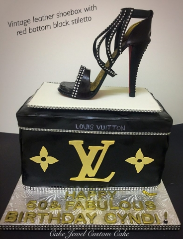Black and bling LV  fondant high heel and box cake