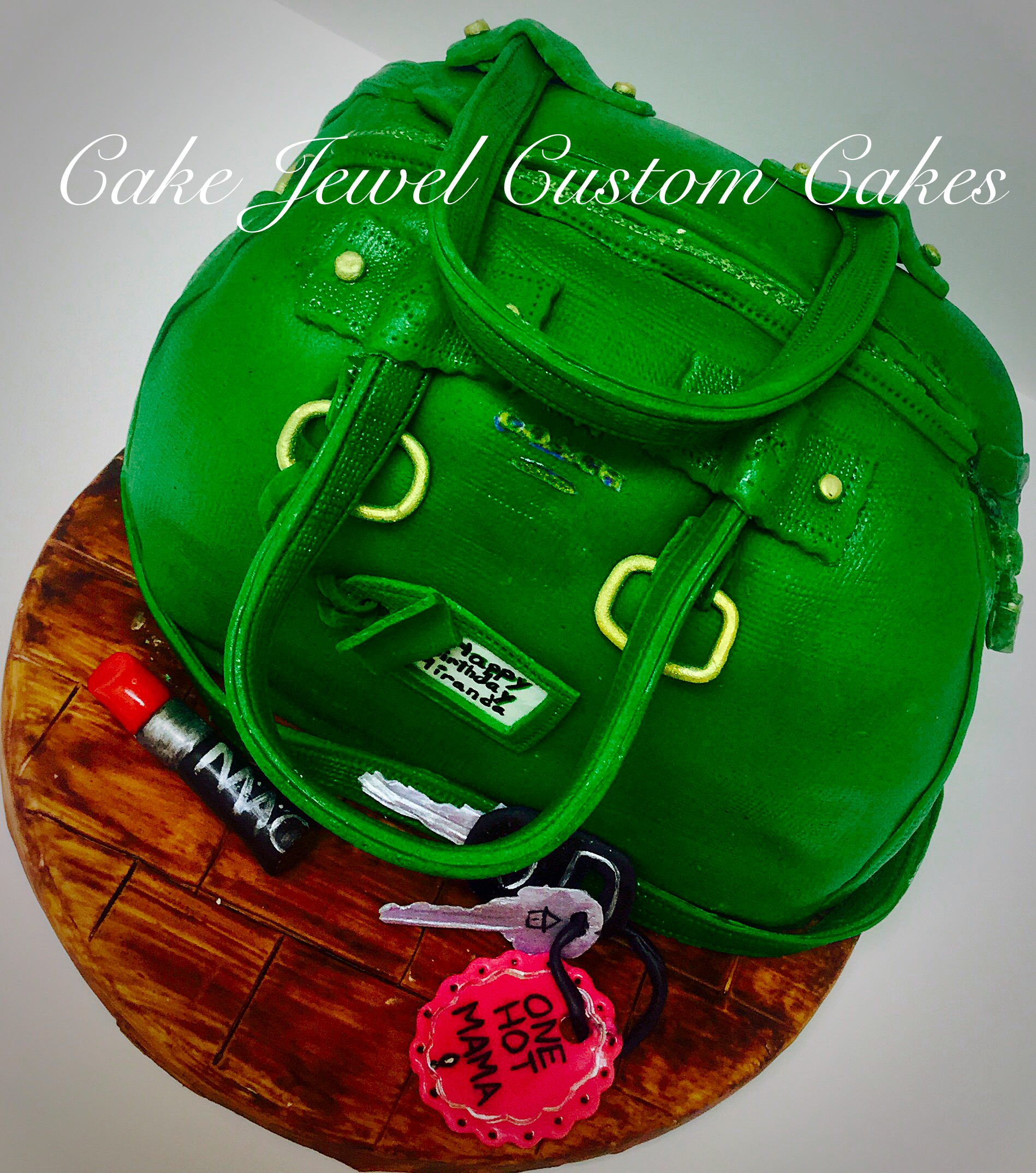 Emerald green designer purse cake