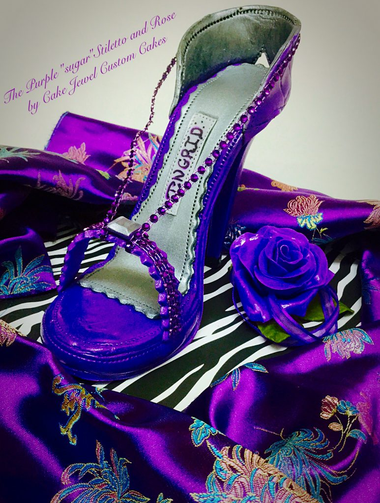 Purple Fondant High Heel with Sugar Rose