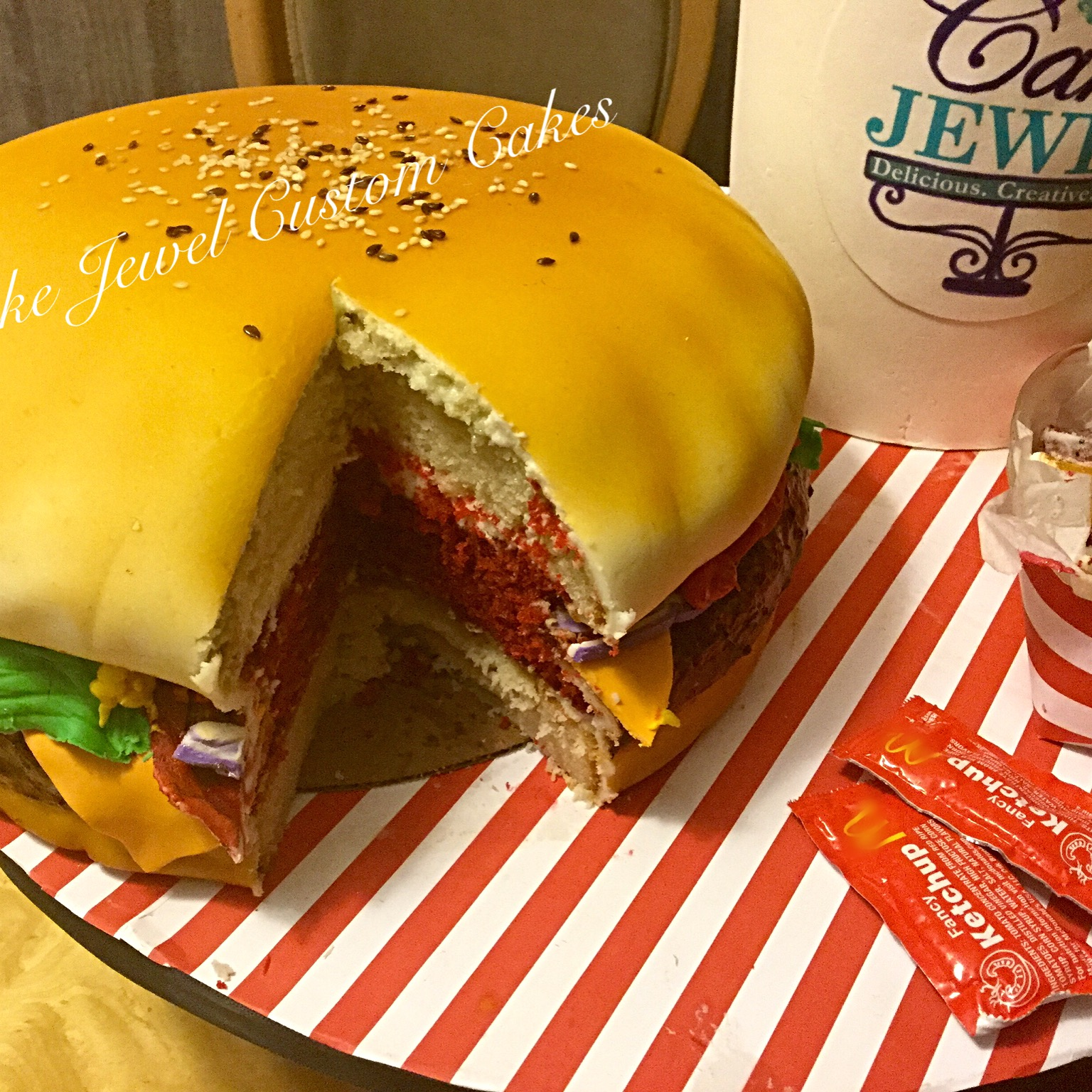 Gigantic hamburger cake