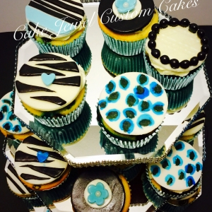 Blue and black cupcakes
