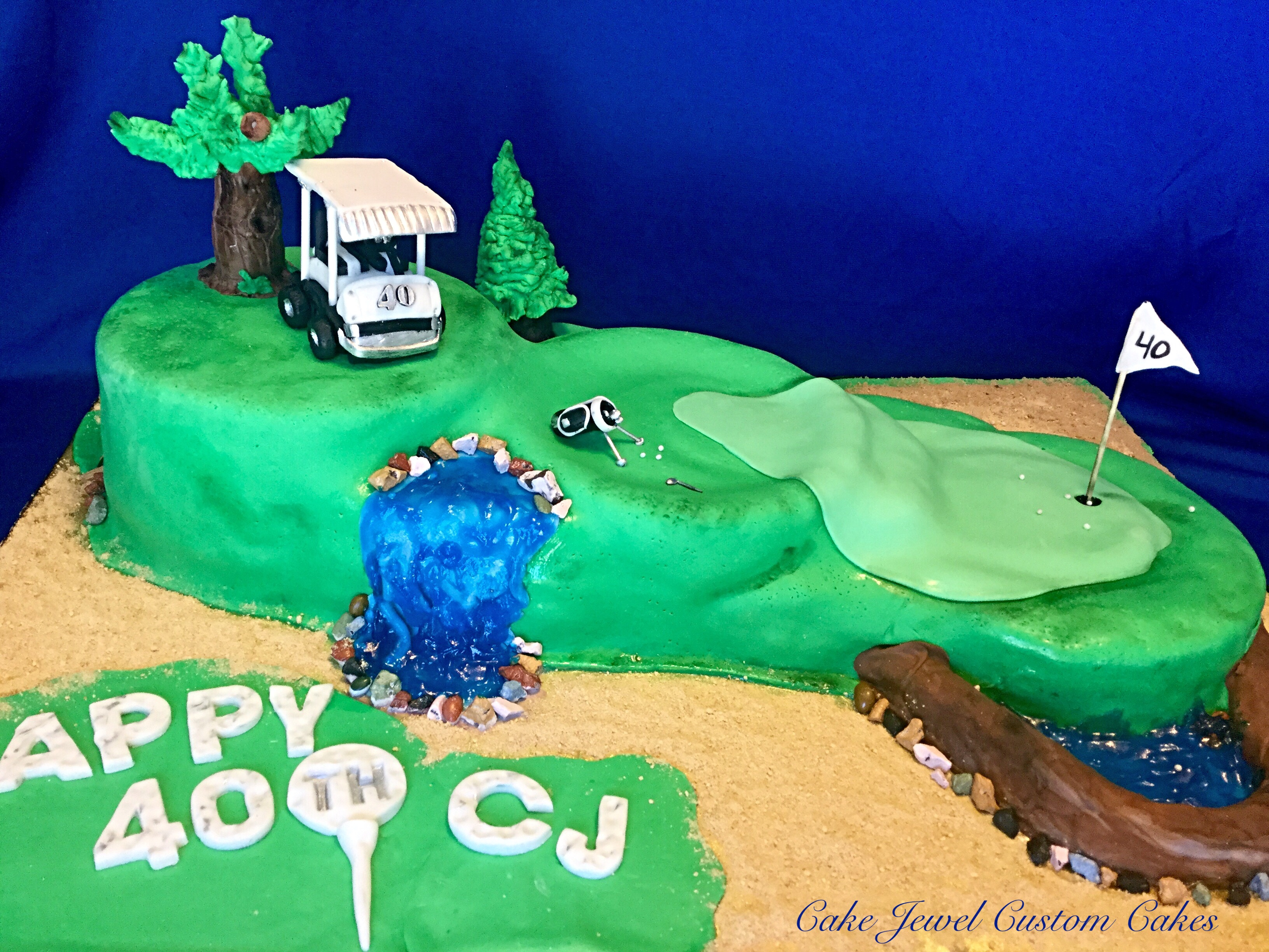 Golf course Cake with cart