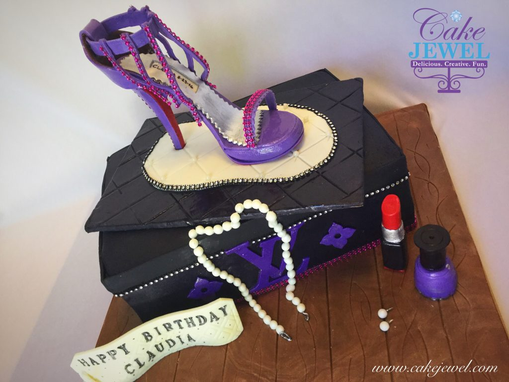 Fondant stiletto and black shoebox cake