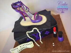 Purple sugar shoe and LV Designed shoe box cake