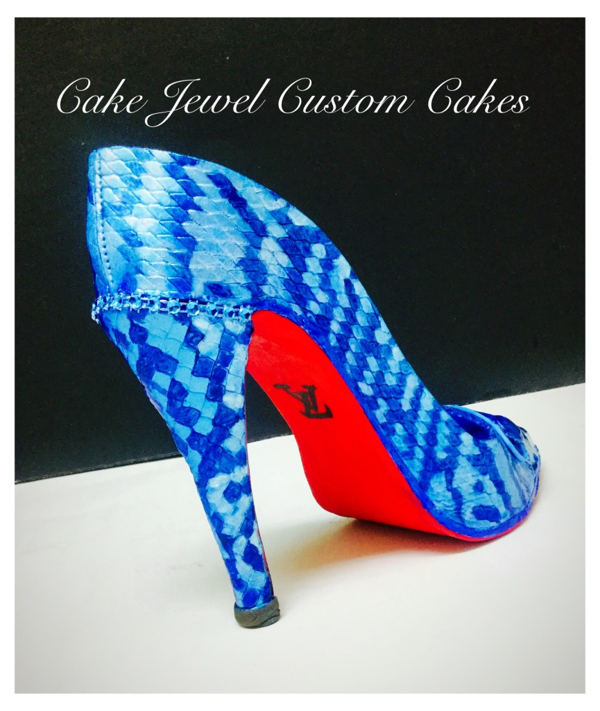 Blue Handpainted Full-size Blue Sugar Shoe