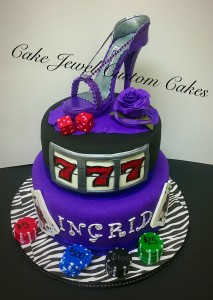 Purple casino cake and sugar shoe