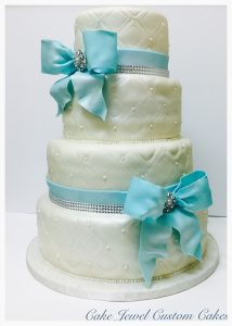 Turquoise and Ivory Wedding Cake