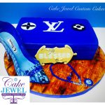 Royal blue LV theme cake and hand-painted sugar high heel