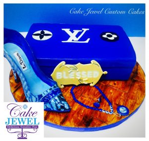 Royal blue cake and hand-painted sugar high heel