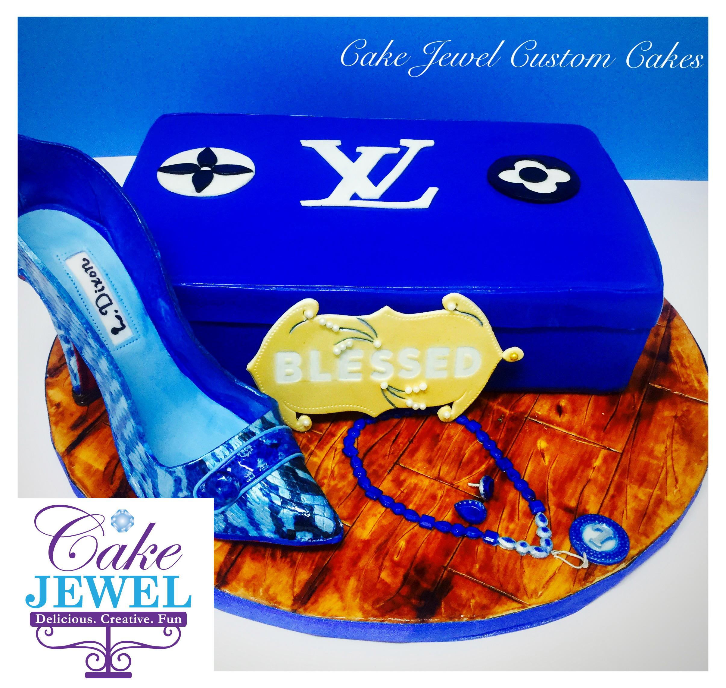 Royal blue cake and hand-painted sugar high heel