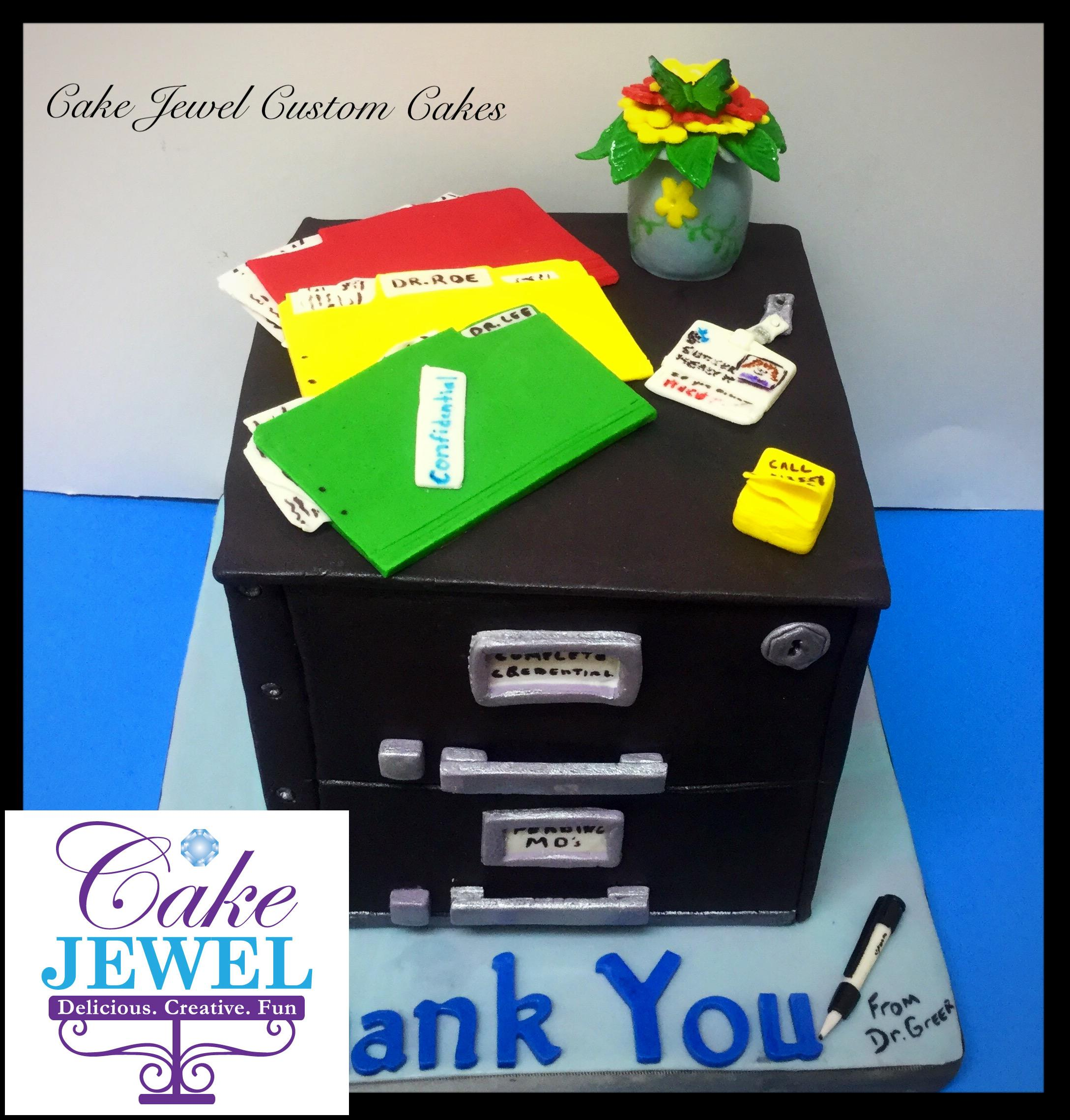Fondant office file cabinet cake