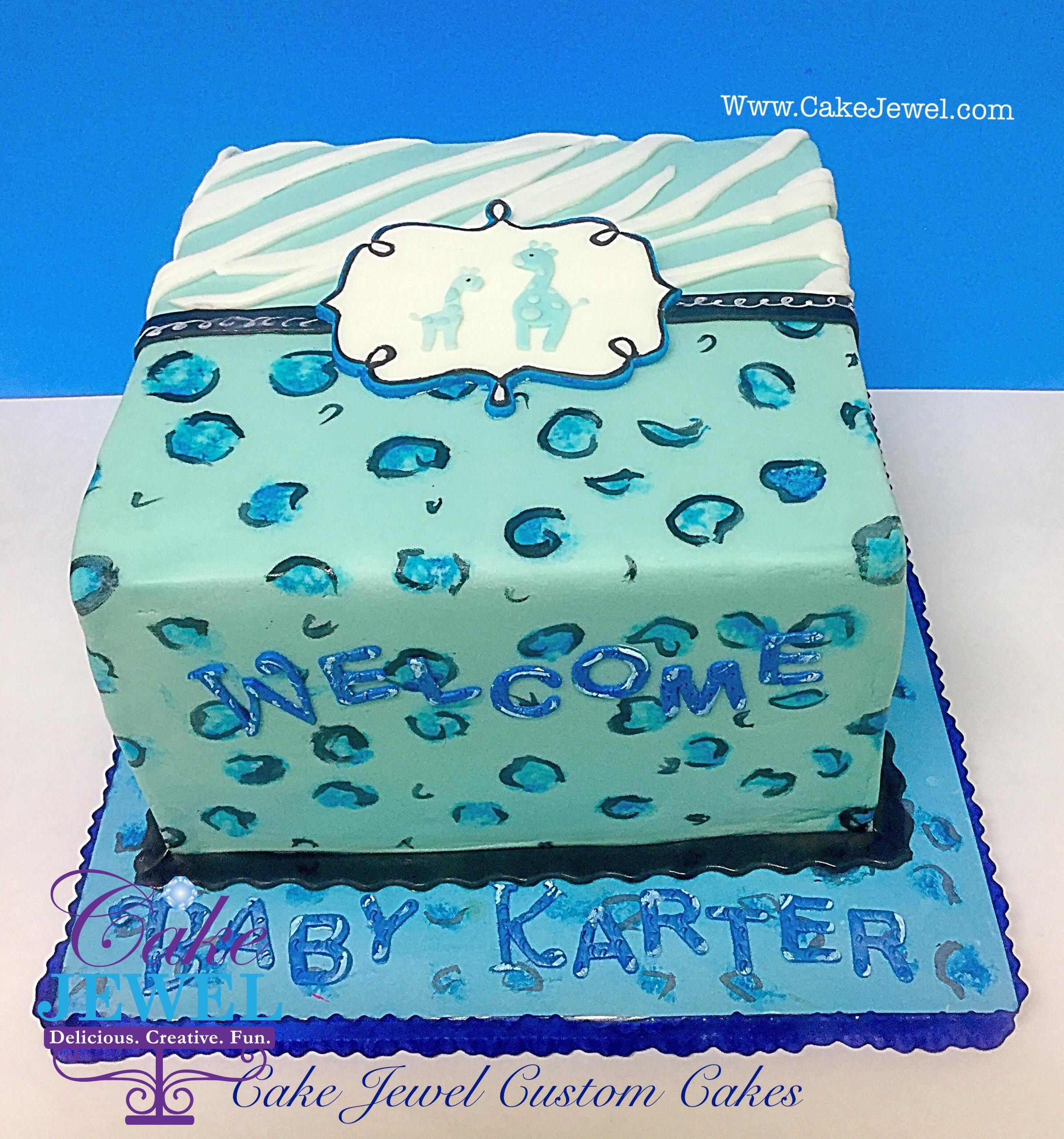 Blue & white giraffe theme Babyshower cake