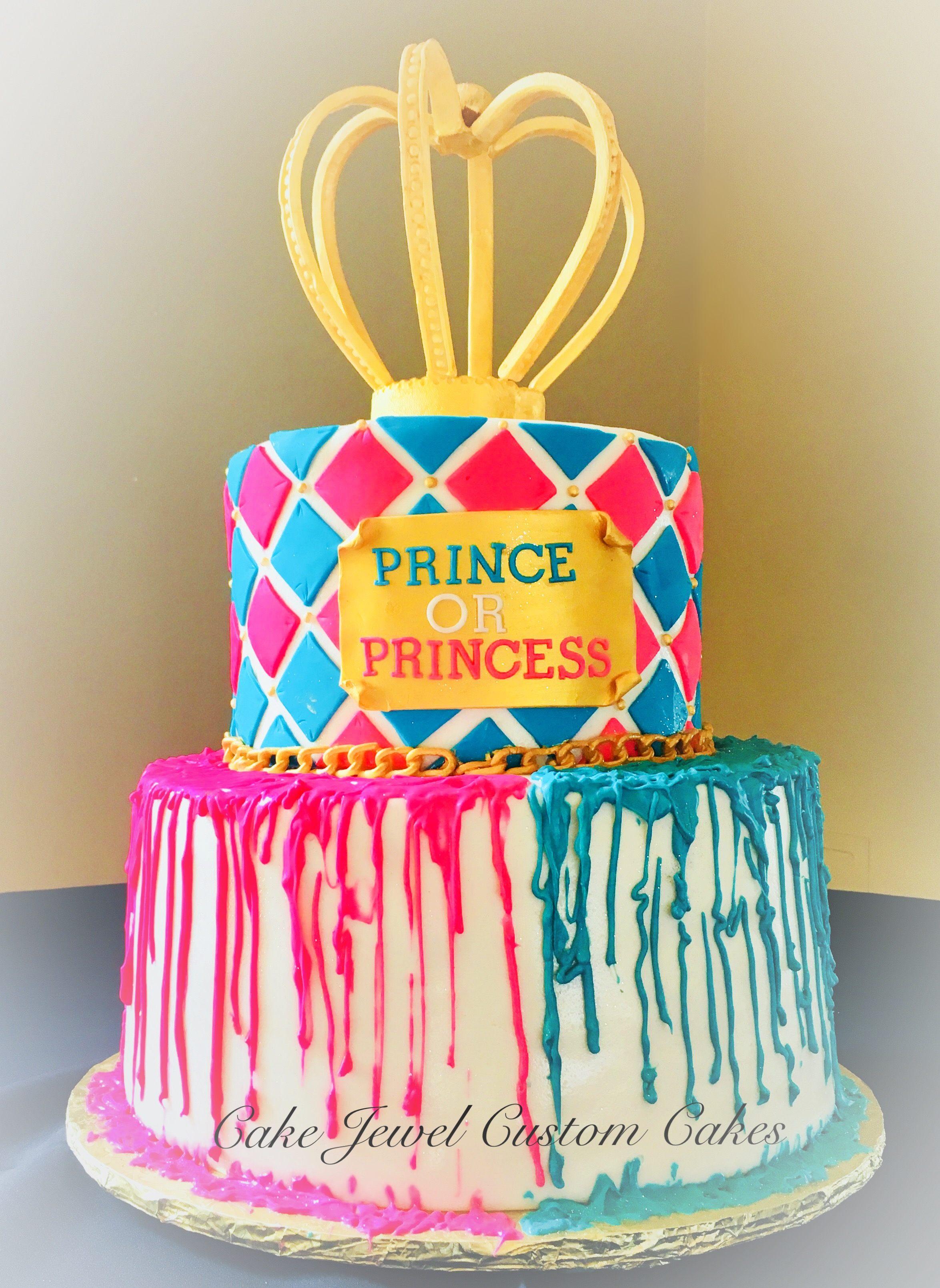 Hot Pink and Teal Babyshower cake