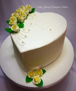 Ivory Heart Shaped Wedding Cake with Fondant Roses