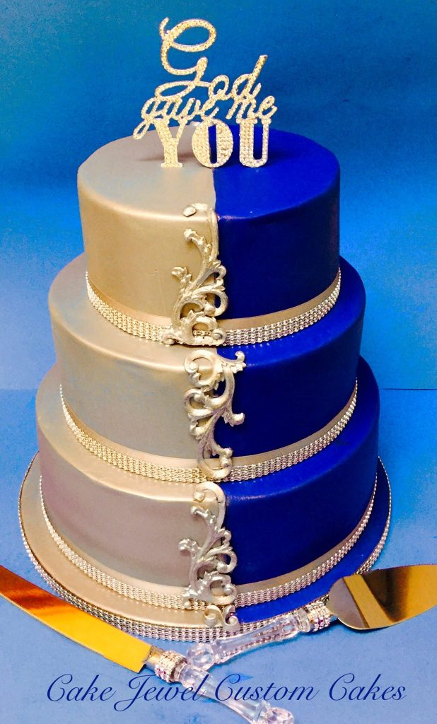 Silver, Blue and Bling Wedding Cake