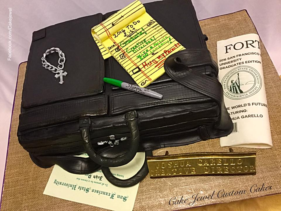 Briefcase Cake with edible accessories