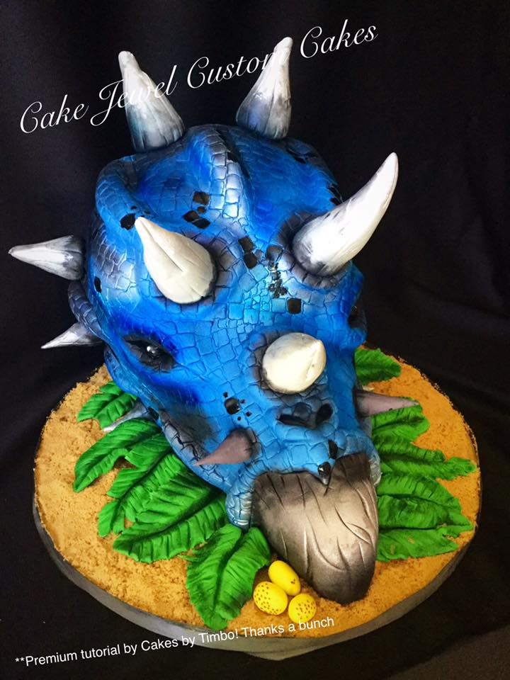 Blue Triceratops Cake