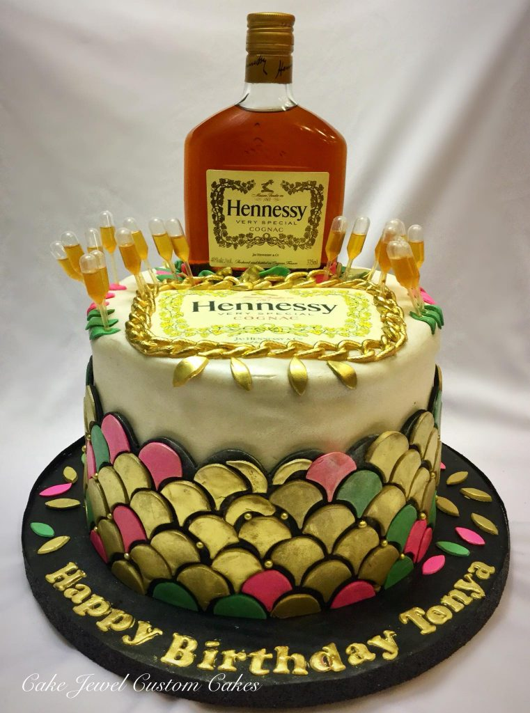 Cognac infused Hennessy themed cake