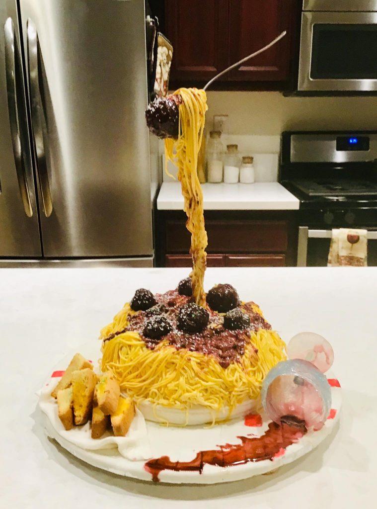 Gravity-defying spaghetti cake
