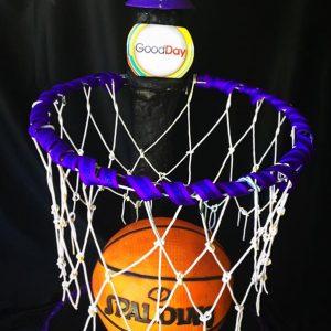 Basketball and hoop cake