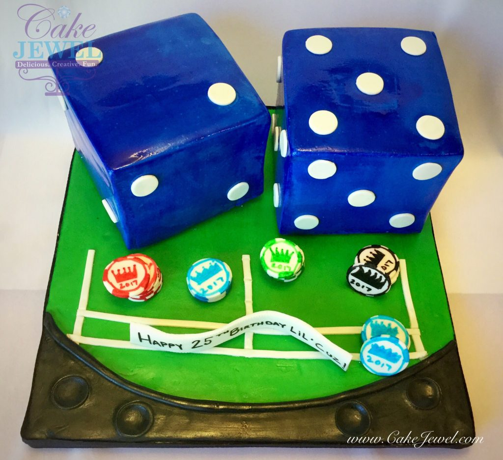 Blue Dice and Chips Cake