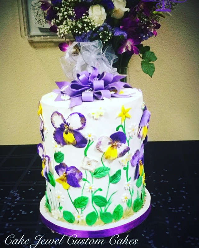 Purple and Green Double Barrel Cake