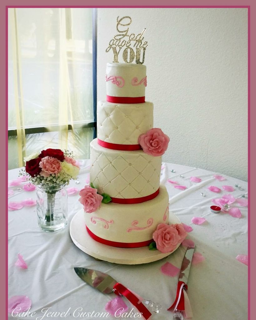Pink, Red and White Wedding cake