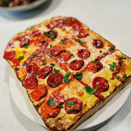 Square pizza cake